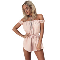 Style Rompers Womens Jumpsuit Sexy Sleeveless Off Shoulder Playsuits Ladies Casual Solid Overalls Plus Size CF