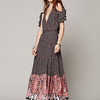 Free People Womens Wrapped Paisley Dress - Black / Red, S