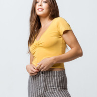 BOZZOLO Cinch V-Neck Mustard Womens Crop Tee