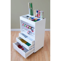 Wrapping Paper Cart (White) (35.50H x 20.00W x 14.00D)
