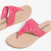 Crochet Vamp Slip On Thong Flip Flop Womens Summer Sandals