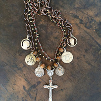 Multi-chain Beaded Vintage Rosary Necklace in silver/copper/browns