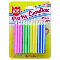 Cake Mate Birthday Party Candle - Pencil - 24 Count - Case Of 12