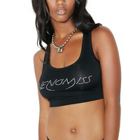 Black Crystal Logo Sports Bra