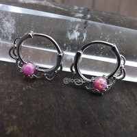 """Opal Septum Piercing Nose Ring 16g Pink Opals Silver Hinged Clicker 3/8"""" 1.2mm Daith Rings Body Jewelry Helix Piercings Gem Gemstones 316L"""