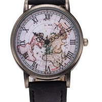 Extraordinary High Quality Men And Women Fashion Retro Table Roman Copper Shell Surface Map Table Quartz Watch = 5979103169