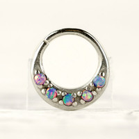 Septum Ring Nose Ring Septum Jewelry Body Pink Blue Sky Opal Stone Piercing  Sterling Silver Indian Style 14g 16g - SE027R SS OP38