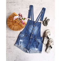 Final Sale - Distressed Rolled Cuff Button Down Shortall in Medium Wash Denim