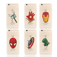 The Avengers Heroes Printing Case for Iphone 6 6s Captain America Thor The Hulk Iron Man Phone Case Cover for Iphone 6 Plus