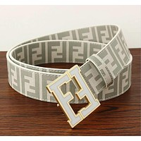 FENDI Popular Woman Men Classic F Letter Smooth Buckle Belt Leather Belt(8-Color) Coffee
