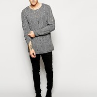 ASOS Longline Jumper with Laddered Cables