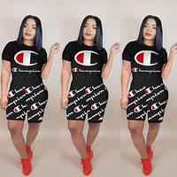 Champion Summer Fashionable Women Casual Print Short Sleeve Top Shorts Sport Set Two Piece Black