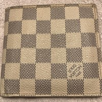 RARE Authentic Men's Louis Vuitton Bi Fold Wallet White Damier Azur EUC