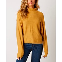 Cotton Candy LA - Mock Neck Ribbed Trim Dropped Shoulders Sweater in Honey