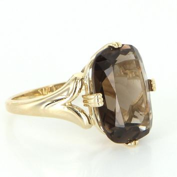 Vintage Smoky Quartz 14 Karat Gold Cocktail Ring Estate Fine Jewelry Heirloom 7.25