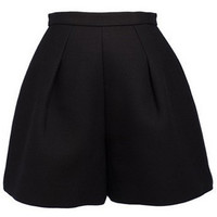 ROMWE | ROMWE Zippered High Waist Black Woolen Shorts, The Latest Street Fashion