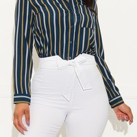 What You Need Striped Blouse Navy And Mustard