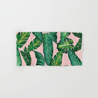 Jungle Leaves, Banana, Monstera II Pink #society6 Hand & Bath Towel by wheimay