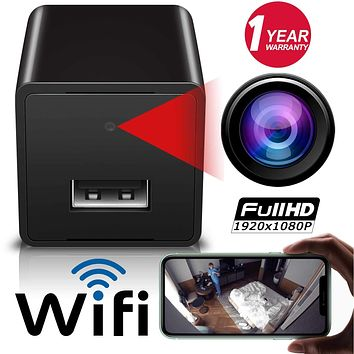 Wireless WiFi Camera, 1080p Hidden Spy Camera Charger, USB Charger Camera, Motion Detection Cam, Remote Phone Control