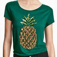 Scoop Neck Sequined Pineapple Solid Green T Shirt