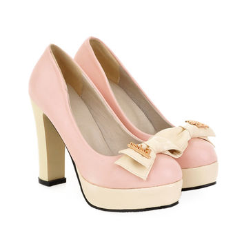 Thick High Heel Chromatic Color Bowknot Women Thin Shoes   pink