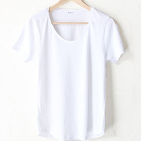 Scoop Neck Tee - White