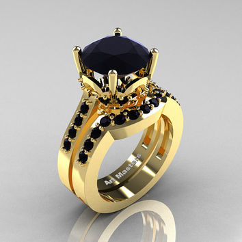 Classic 14K Yellow Gold 3.0 Carat Black Diamond Solitaire Wedding Ring Set R301S-14KYGBD