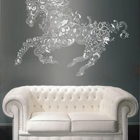 ik1895 Wall Decal Sticker Horse abstract flowers living room bedroom