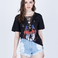 Destroyed Lace-Up Graphic Tee