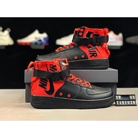Nike SF Air Force 1 Mid 2019 new style brand men's high-top zipper strap shoes Black+red