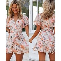 2020 new women's digital print ruffled short dress