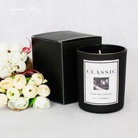 150G Aromatherapy Candle With Essential Oil Soy Candle In Black Glass Cup 7 Scents Jasmine Green Tea Lavender Etc