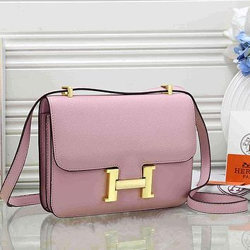 Hermes Women Fashion Leather Crossbody Shoulder Bag Satchel