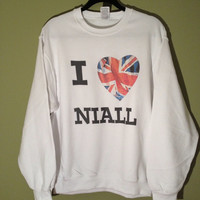 I Love Niall....  1D White Unisex Crewneck Sweatshirt for All Niall Horan & One Direction Fans