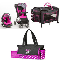 Disney Minnie Pop Baby Gear Bundle,Stroller Travel System,Play Yard, and Diaper Bag