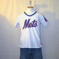 Vintage Rare 80s NEW YORK METS Baseball Pin Stripes Polyester Thin Soft Unisex Medium Sports Jersey T-Shirt