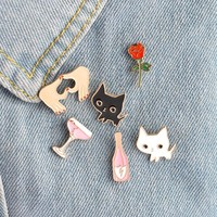 Trendy 6pcs/set Black White Cats Rose Champagne Wineglass Heart Brooch Button Pins Denim Jacket Pin Badge Cartoon Fashion Jewelry Gift AT_94_13