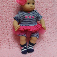 """AMERICAN GIRL Bitty Baby Clothes """"Hearts x 3"""" (15 inch) doll outfit dress, shorts, booties/ socks, and headband"""