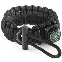 Tactical Paracord Survival Bracelet S Series - Essential Emergency Gear - Adjustable, Fire Starter Kit, Compass, Military 550 Cord For Bug Out Preppers Everyday Carry