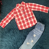 Kids Tales Red Button Up & Ripped Jeans Set F