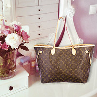 Louis Vuitton New Fashion Women Leather Handbag Bag Cosmetic Bag Two Piece Set