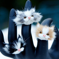 Adorable Furry Cat Face Adjustable Ring
