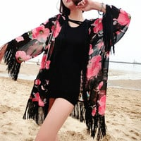 Floral 3/4 Sleeve Cover-Up designed with Tassel
