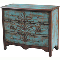 Hand-painted Distressed Walnut and Blue Finish Accent Chest | Overstock.com