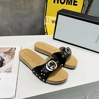 Gucci Popular Summer Women's Flats Men Slipper BV Sandals Shoes