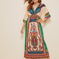 Tribal Print Surplice Front Dress