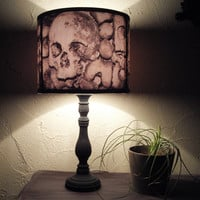 Paris Catacombs skull lamp shade lampshade - home decor, lighting, halloween decor, skulls, Spooky Shades, gothic, graveyard