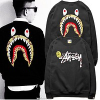 Bape men casual printing and velvet Pullover round neck sweater