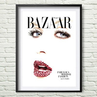 Bazaar Cover, Katty Perry, Fashion Wall Art, Fashion Poster, Fashion Magazine Print, Vintage Vogue Cover, Fashion Print, Printable Art *86*