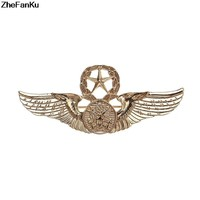 2018 Glod Silver Color Metal Fashion Retro Eagle Hawk Brooch Pin Angle Wing Badge For Men'S Shirt Collar Accessories